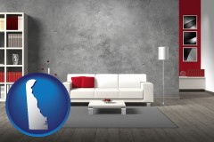 delaware map icon and home furnishings - 3d rendering