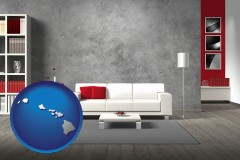 hawaii map icon and home furnishings - 3d rendering