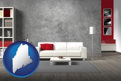 maine map icon and home furnishings - 3d rendering