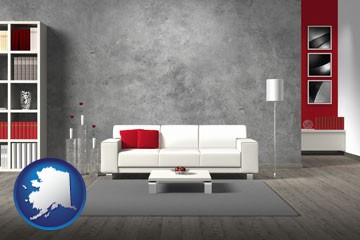 home furnishings - 3d rendering - with Alaska icon