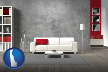 home furnishings - 3d rendering - with Delaware icon