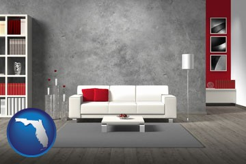 home furnishings - 3d rendering - with Florida icon