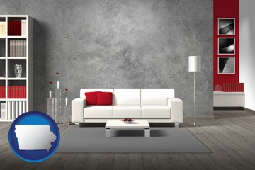 home furnishings - 3d rendering - with Iowa icon