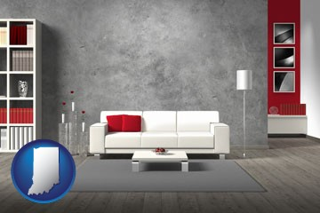 home furnishings - 3d rendering - with Indiana icon