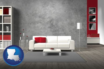 home furnishings - 3d rendering - with Louisiana icon