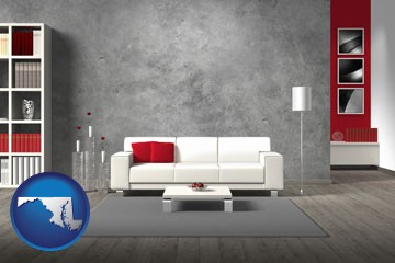 home furnishings - 3d rendering - with Maryland icon