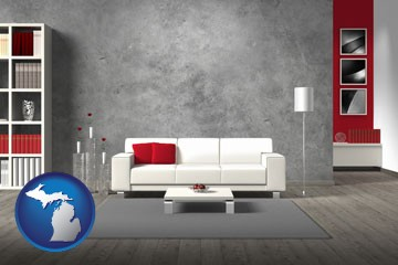 home furnishings - 3d rendering - with Michigan icon
