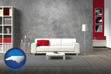 home furnishings - 3d rendering - with North Carolina icon