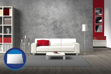 home furnishings - 3d rendering - with North Dakota icon