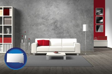 home furnishings - 3d rendering - with South Dakota icon