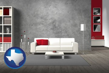 home furnishings - 3d rendering - with Texas icon