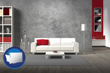 home furnishings - 3d rendering - with Washington icon