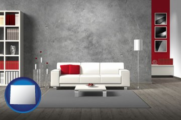 home furnishings - 3d rendering - with Wyoming icon